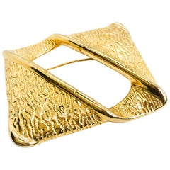 Givenchy Large Vintage Gold Plated Statement Brooch Pin, 1980s