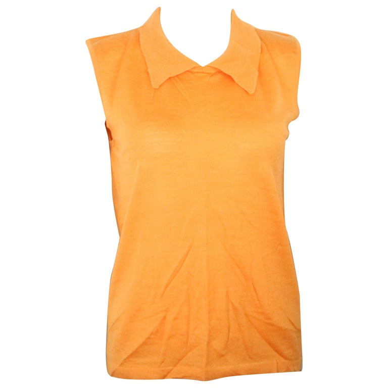 Chanel Orange Cashmere and Silk Sleeveless collar Top  For Sale