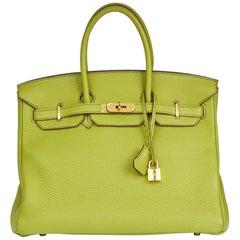 Hermes Vert Anis Togo Leather Birkin 35cm Bag, 2009