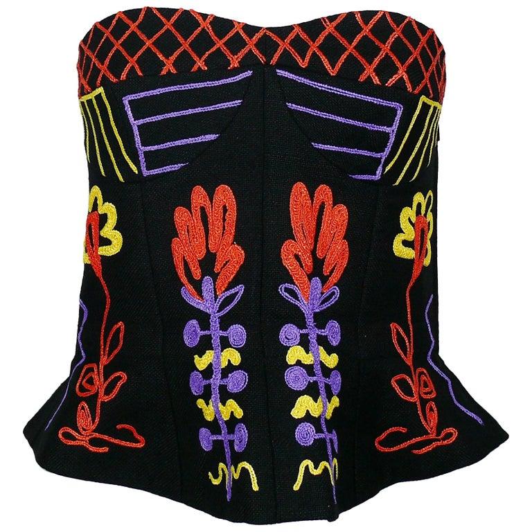 Christian Lacroix Vintage Embroidered Black Linen Bustier Top, 1990s