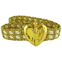 92b6f536a1a Yves Saint Laurent YSL Vintage Jewelled Heart Chain Belt For Sale at ...