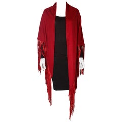 Red Cashmere Vintage Wrap with Leather Fringing