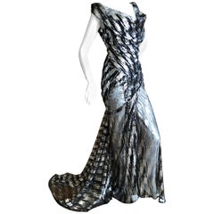 Vivienne Westwood Gold Label Silver Sequin Black Evening Dress w Built In Corset
