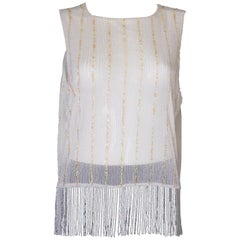 Vintage White Bead and Sequin Top with Fringing
