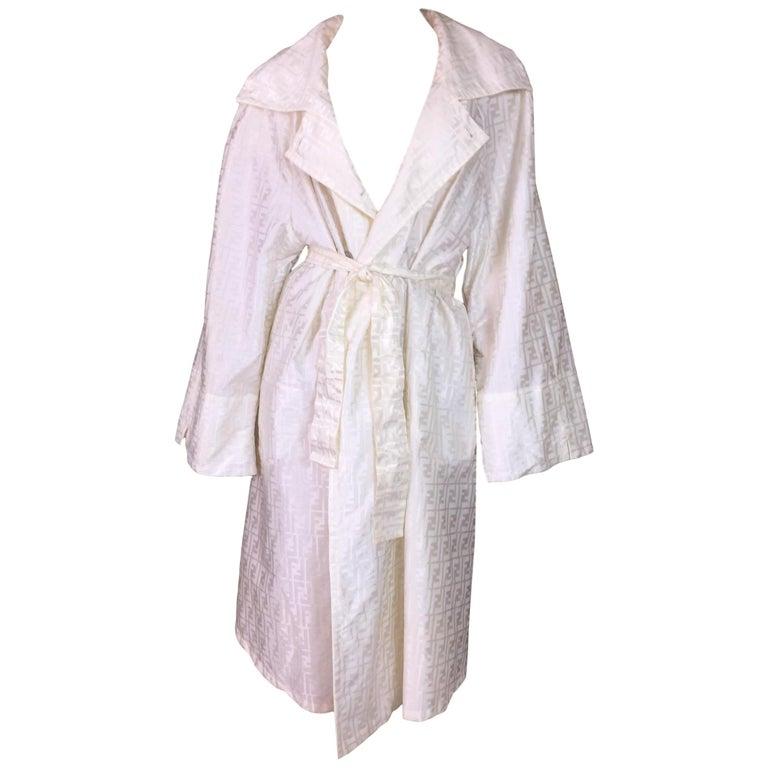 1990's Fendi by Karl Lagerfeld Monogram Zucca Ivory Pearl Coat Dress Jacket