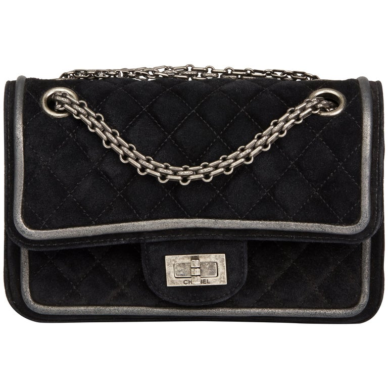 ee154751bf72 2016 Chanel Suede & Metallic Calfskin Quilted 2.55 Reissue 224 Double Flap  Bag For Sale