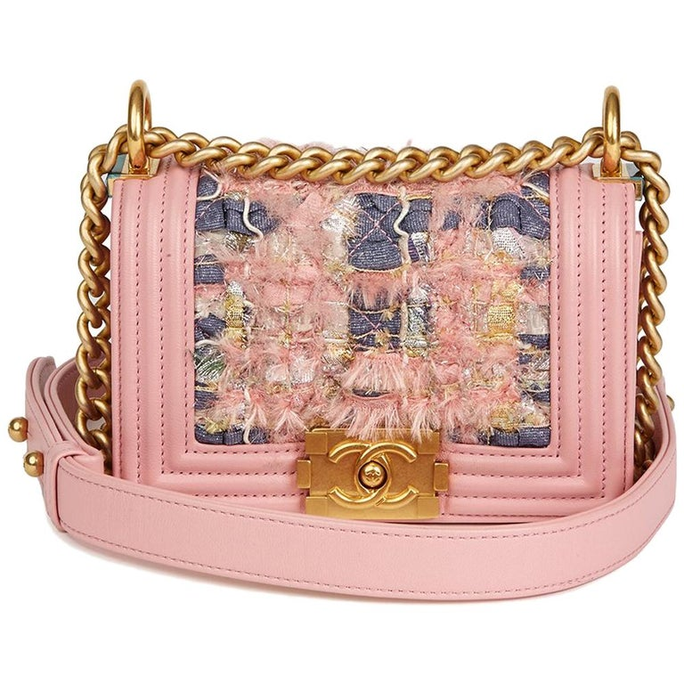 2016 Chanel Pink Lambskin & Multicolour Woven Fabric Mini Le Boy