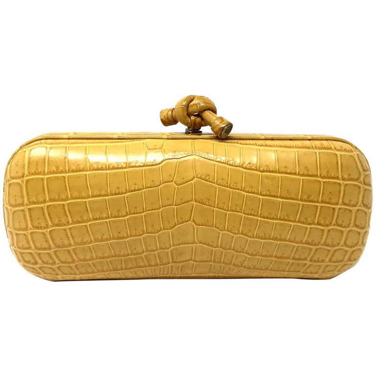 Bottega Veneta Yellow Crocodile Stretch Knot Clutch