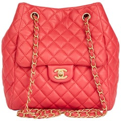 2017 Chanel Rose Quilted Lambskin Classic Bucket Bag