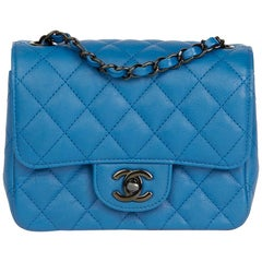 2017 Chanel Blue Quilted Calfskin Leather Mini Flap Bag