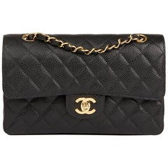 2004 Chanel Black Quilted Caviar Leather Small Classic Double Flap Bag