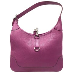 Hermes Cyclamen Chevre Mysore Leather Trim 24 Bag