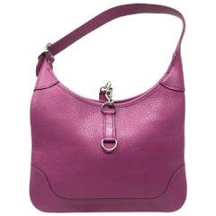 Hermes Cyclamen Chevre Mysore Leather Trim 24 Bag