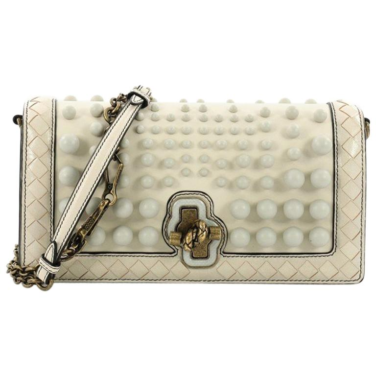 93cac6edb768 Bottega Veneta City Knot Chain Clutch Studded Leather with Intrecciato  Detail For Sale