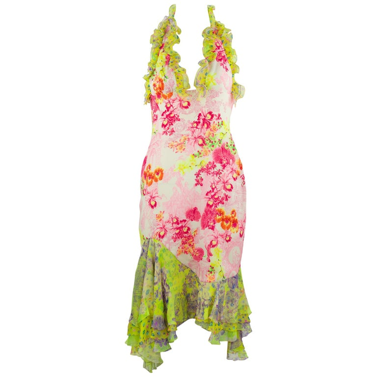 Versace Pink & Green Floral Print Chiffon Dress - Size IT 42 For Sale