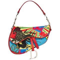 2003 Christian Dior Multicolour Canvas & Red Calfski Rasta Mania Saddle Bag