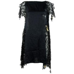 Gianni Versace Vintage Black Silk and Lace Dress with Medusa Safety Pins