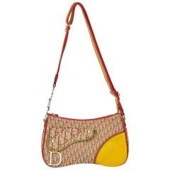 2004 Christian Dior Brown Monogram Canvas Rasta Crossbody Saddle Bag