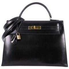 Hermes Kelly Handbag Black Box Calf with Gold