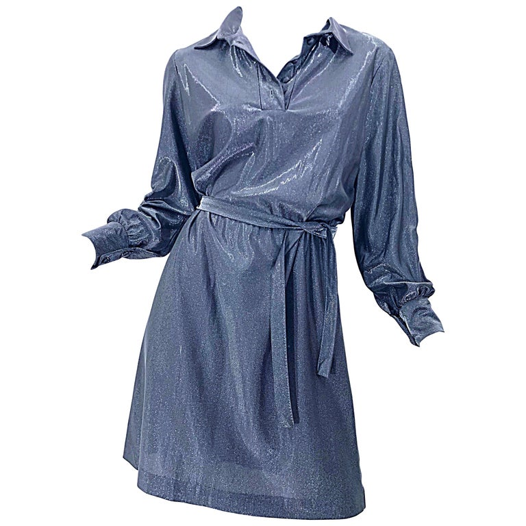 1970s Gunmetal Metallic Silver Gray Belted Vintage 70s Long Sleeve Shirt Dress For Sale