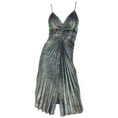Amazing 1970s Samir Rainbow Metallic Slinky Pleated Vintage 70s Disco Dress