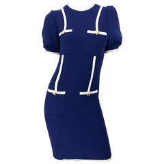 Vintage Adolfo for Saks 5th Avenue Navy Blue and White Nautical Knit Dress
