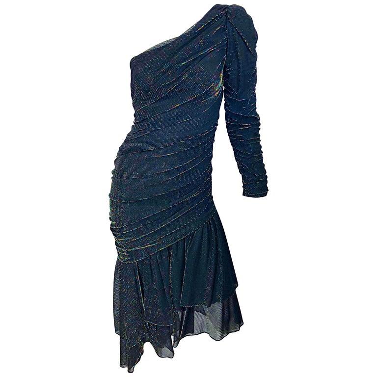 1980s Samir One Shoulder Black Metallic Rainbow Vintage 80s Cocktail Dress For Sale