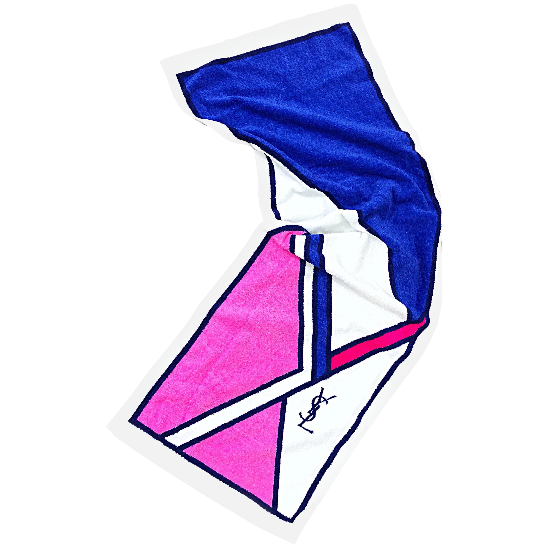New Vintage Yves Saint Laurent YSL Pink + Purple Logo Workout Towel