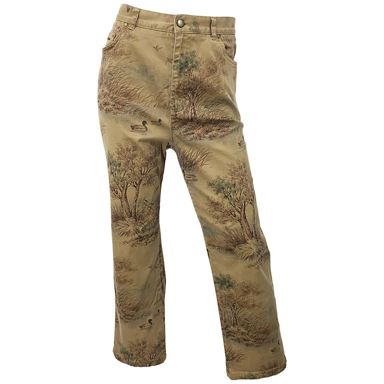 1990s Ralph Lauren Size 14 Camouflage Rare High Waisted Slim 90s Trousers Pants