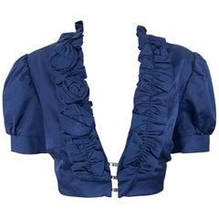 New Flavio Castellani Navy Blue Short Sleeve Rosette Cropped Bolero Jacket Top