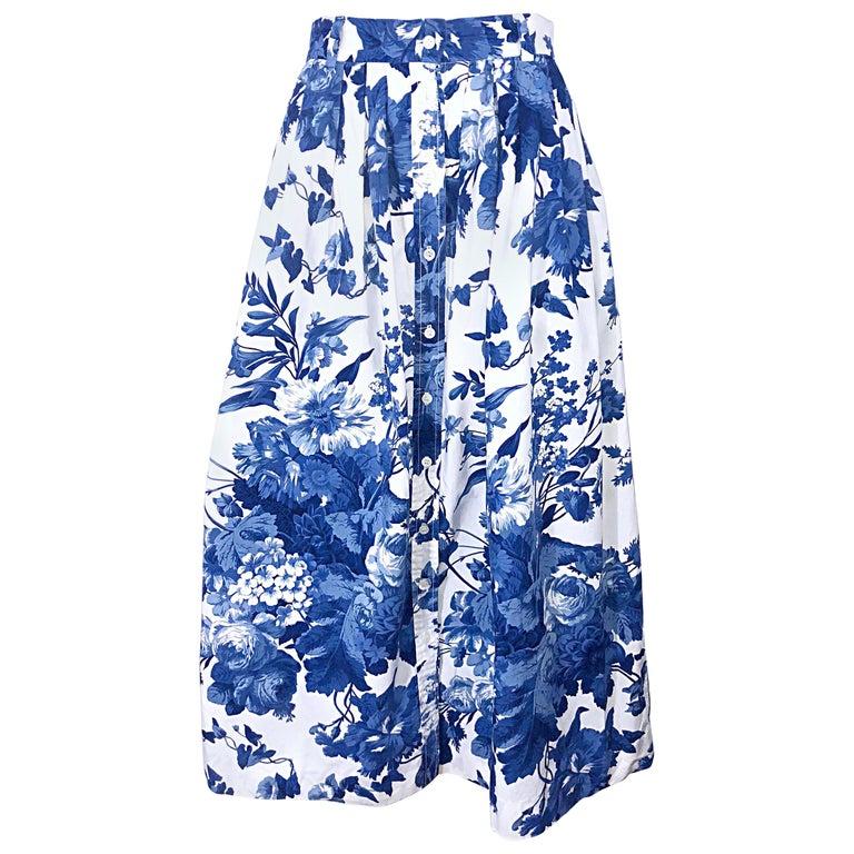 Vintage Ralph Lauren 1990s Blue + White Floral Print 90s Cotton Midi Skirt