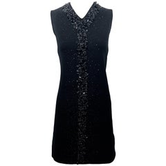Chic 1960s St Andrews Black Zephyr Wool British Hong Kong Beaded 60s Shift Dress