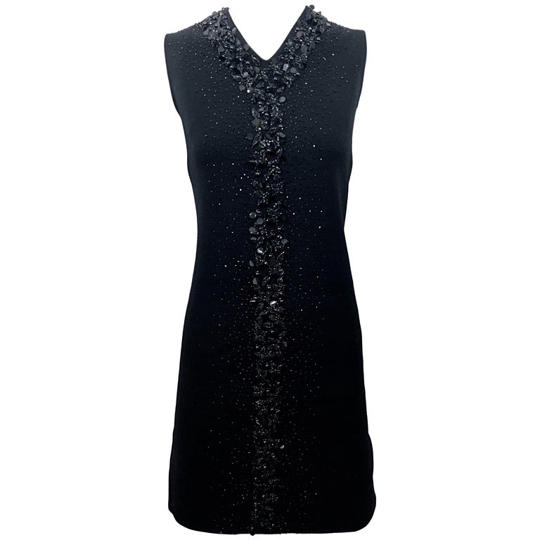 Chic 1960s St Andrews Black Zephyr Wool British Hong Kong Beaded 60s Shift Dress For Sale