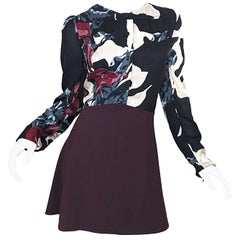 New Carven Fall 2009 Size 42 / 10 12 Burgundy + Blue + Black Abstract Mini Dress