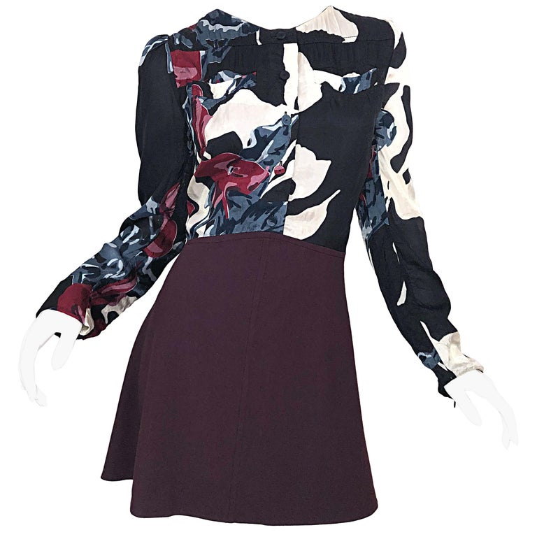 New Carven Fall 2009 Size 42 / 10 12 Burgundy + Blue + Black Abstract Mini Dress For Sale