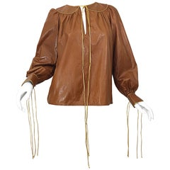 1970s Geoffrey Beene Leather Camel Tan / Brown Bishop Sleeve 70s Vintage Blouse