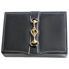 Vintage Gucci Black Leather Jewelry Case Trinket Box Equestrian Motif Horse Bit