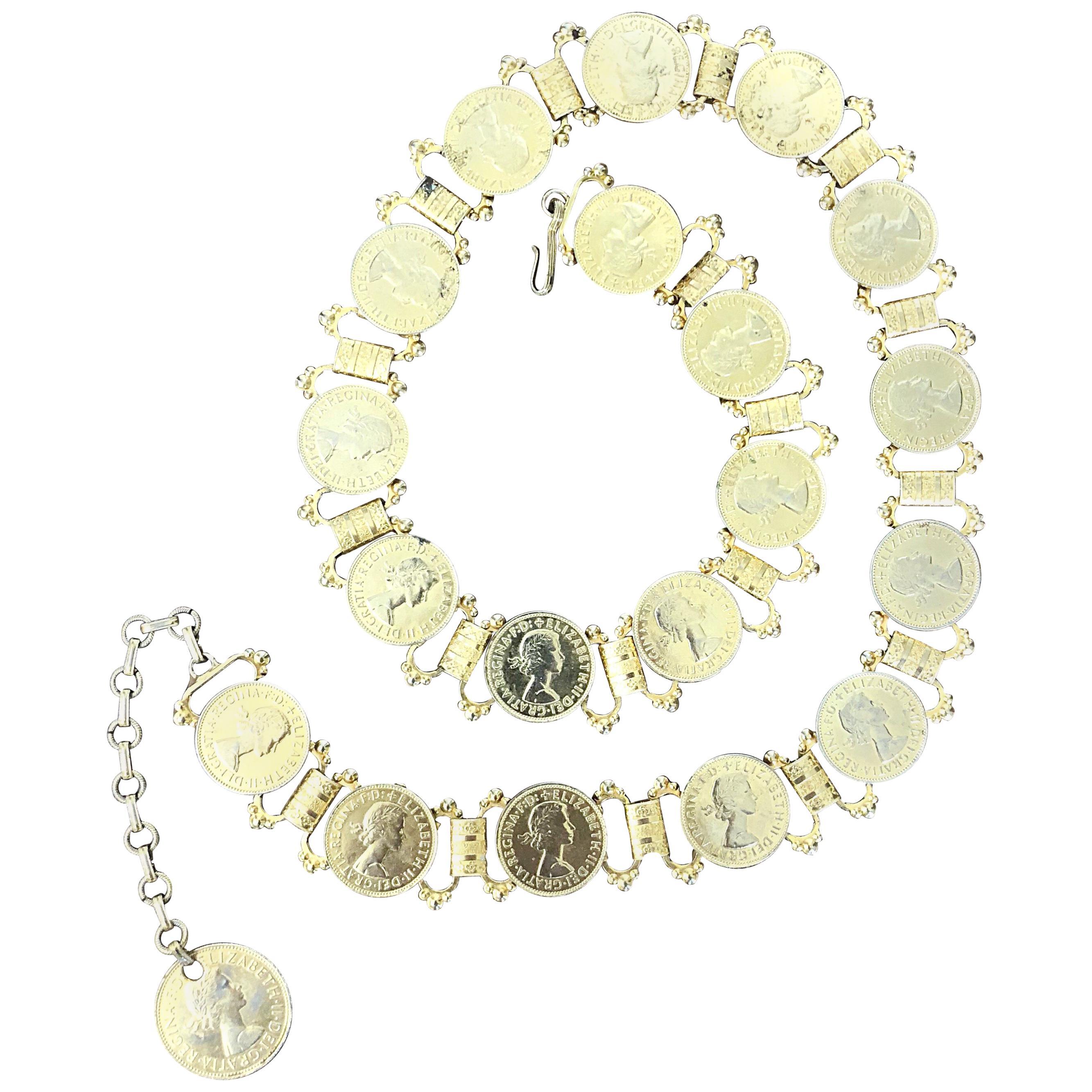 Elizabeth Dei Gratia 1960s Gold Coin Vintage 60s Novelty Chain Belt or Necklace