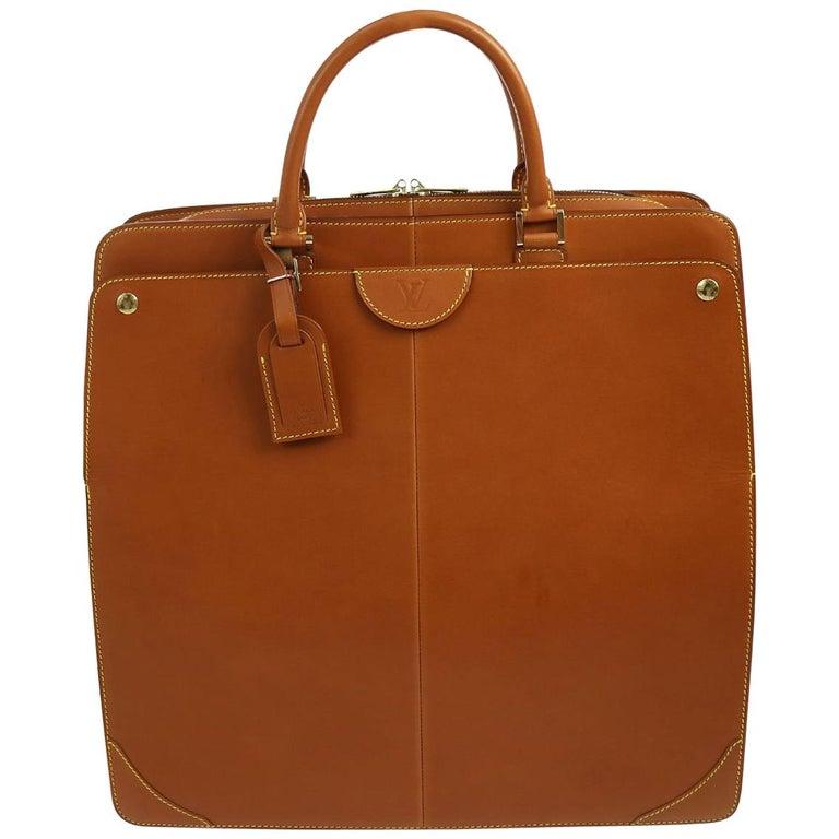 Louis Vuitton Cognac Leather Carryall Men's Women's Travel Top Handle Tote Bag