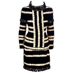 Chanel Black and Beige Stripe Design Skirt Suit W/ Metallic Threads Autumn 2009