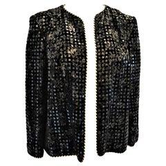 Vintage Celine Paris Velvet Embroidered and Sequin Evening Jacket
