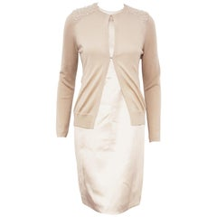 Akris Beige Silk Dress and Cashmere Sweater with Glass Beaded Shoulders