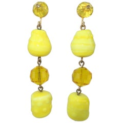 Vogue Jewelry Yellow and Amber Glass Dangle Earrings, circa 1960