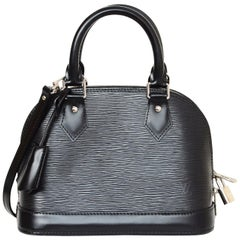 Louis Vuitton LV Black Nior Epi Leather Mini Alma BB Crossbody Bag w. Dust Bag