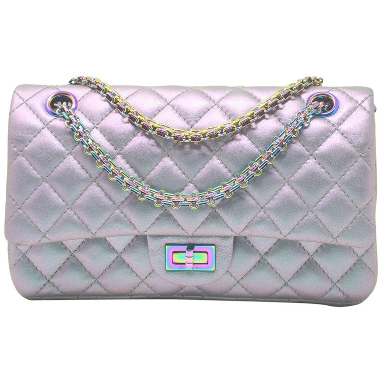 feead0d12034 Chanel Iridescent 2.55 Reissue Double Flap Shoulder Bag With Card For Sale