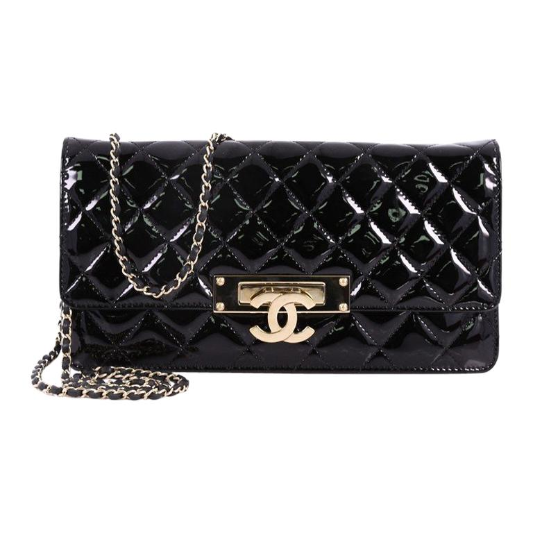 2e29d1bbc5a1 Chanel Golden Class Wallet on Chain Quilted Patent East West at 1stdibs