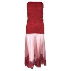 F/W 2001 Christian Dior John Galliano Sheer Red Lace Mesh Strapless Dress Skirt