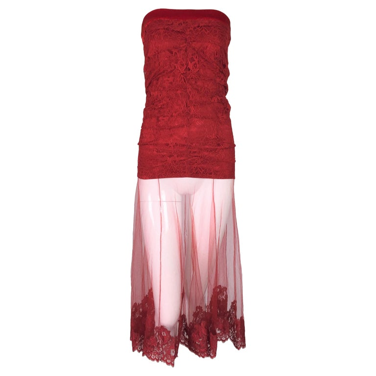 F/W 2001 Christian Dior John Galliano Sheer Red Lace Mesh Strapless Dress Skirt