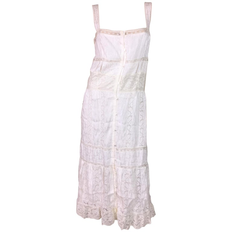 F/W 2004 Christian Dior John Galliano Ivory Monogram Silk Peasant Lace Dress