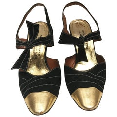 1970's Manolo Blahnik Suede and Gold leather night shoes.